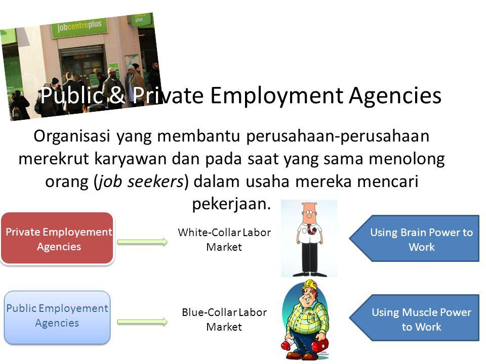 Public & Private Employment Agencies Organisasi yang membantu perusahaan-perusahaan merekrut karyawan dan pada saat yang sama menolong orang (job seekers) dalam usaha mereka mencari pekerjaan.