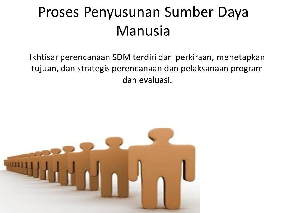 Proses Penyusunan Sumber Daya Manusia Ikhtisar perencanaan SDM terdiri dari perkiraan, menetapkan tujuan, dan strategis perencanaan dan pelaksanaan program dan evaluasi.