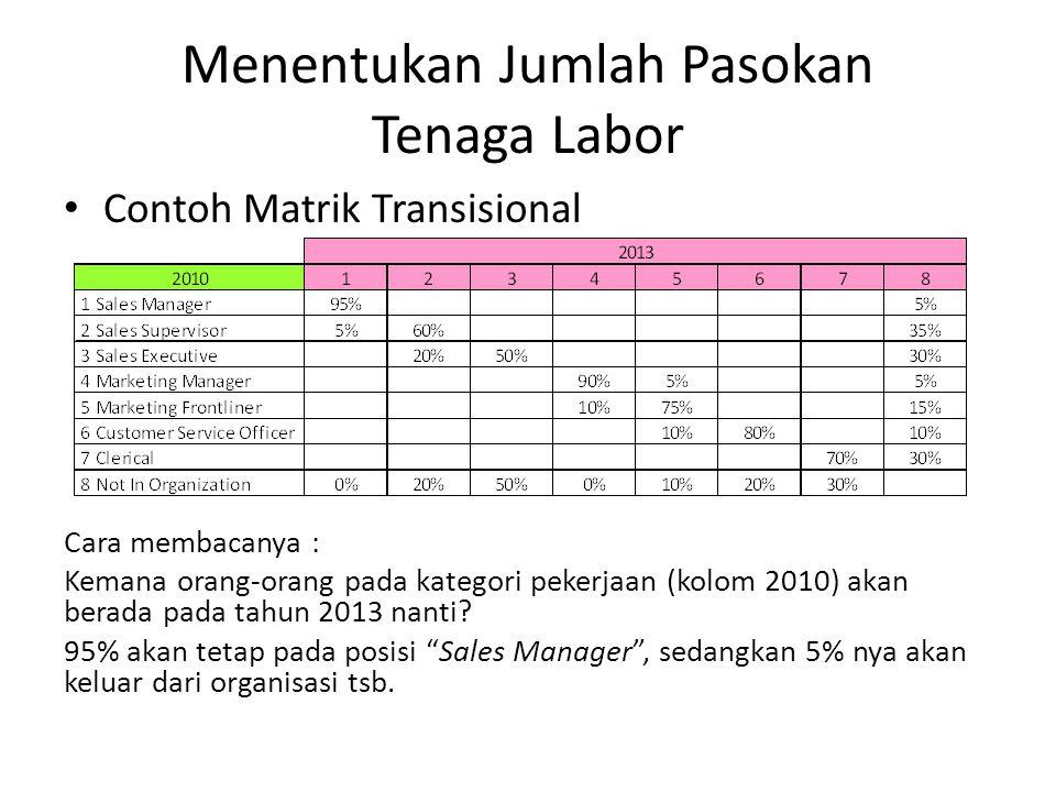 Menentukan Jumlah Pasokan Tenaga Labor Contoh Matrik Transisional Cara membacanya : Kemana orang-orang pada kategori pekerjaan (kolom 2010) akan berada pada tahun 2013 nanti.