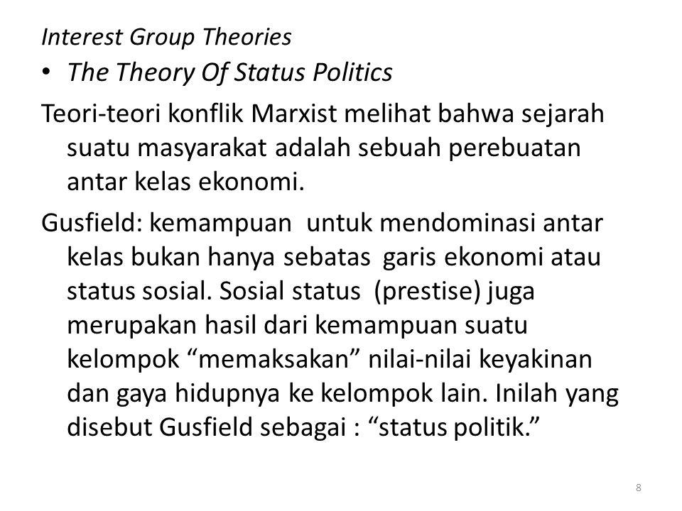 Interest Group Theories The Theory Of Status Politics Teori-teori konflik Marxist melihat bahwa sejarah suatu masyarakat adalah sebuah perebuatan anta