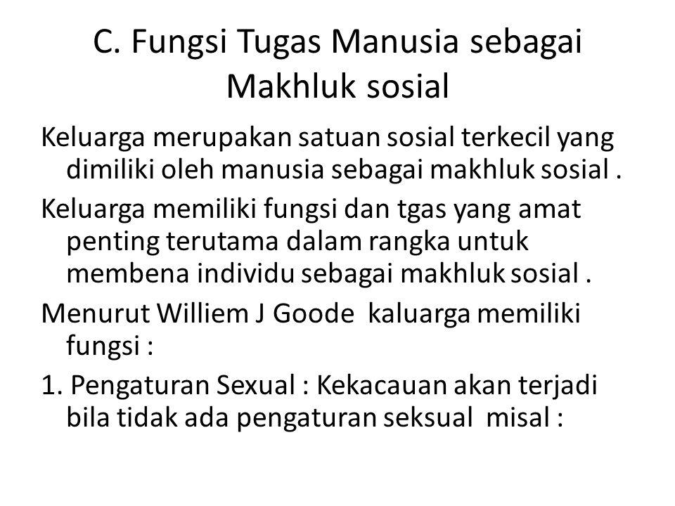 C. Fungsi Tugas Manusia sebagai Makhluk sosial Keluarga merupakan satuan sosial terkecil yang dimiliki oleh manusia sebagai makhluk sosial. Keluarga m