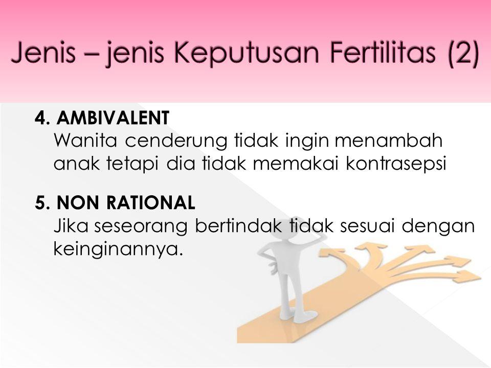 4. AMBIVALENT Wanita cenderung tidak ingin menambah anak tetapi dia tidak memakai kontrasepsi 5.