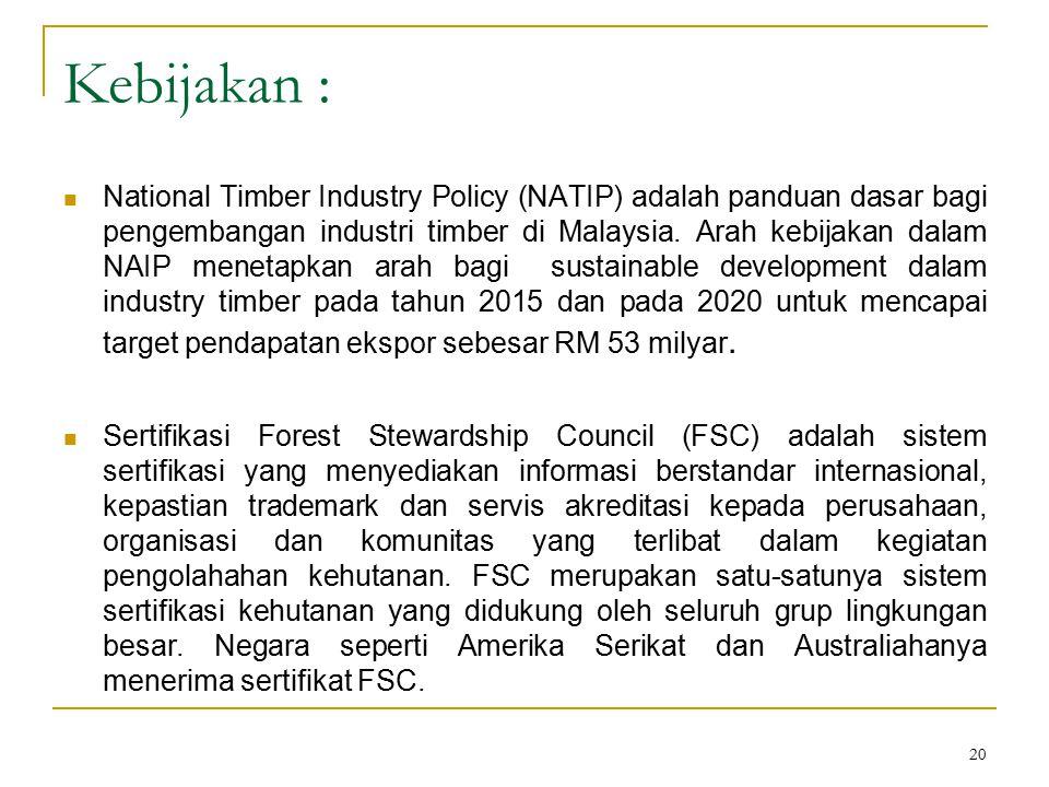 20 Kebijakan : National Timber Industry Policy (NATIP) adalah panduan dasar bagi pengembangan industri timber di Malaysia. Arah kebijakan dalam NAIP m