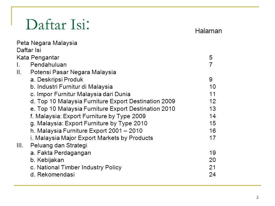 3 Daftar Isi : Peta Negara Malaysia Daftar Isi Kata Pengantar5 I.Pendahuluan7 II.Potensi Pasar Negara Malaysia a. Deskripsi Produk9 b. Industri Furnit