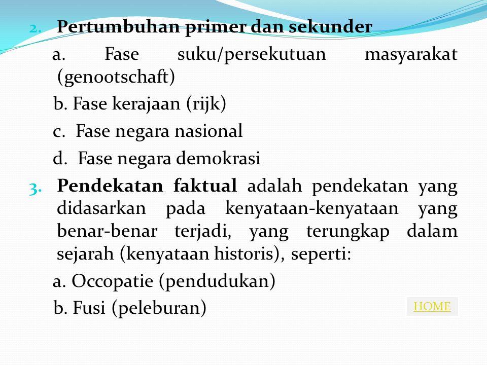HOME 2. P ertumbuhan primer dan sekunder a. Fase suku/persekutuan masyarakat (genootschaft) b. Fase kerajaan (rijk) c. Fase negara nasional d. Fase ne