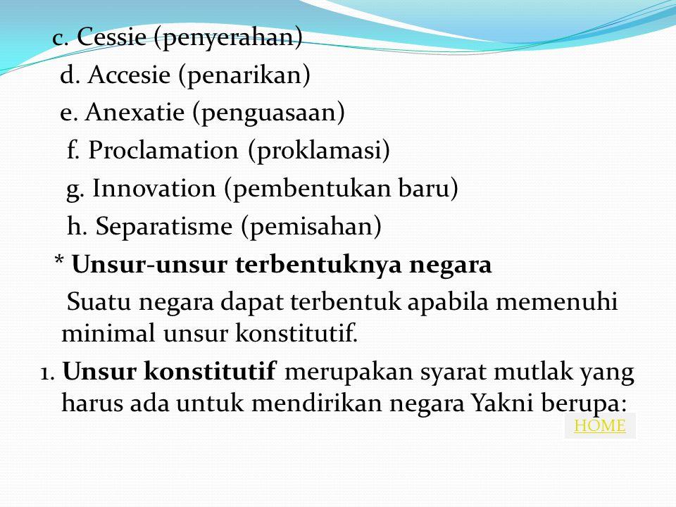 HOME c. Cessie (penyerahan) d. Accesie (penarikan) e. Anexatie (penguasaan) f. Proclamation (proklamasi) g. Innovation (pembentukan baru) h. Separatis