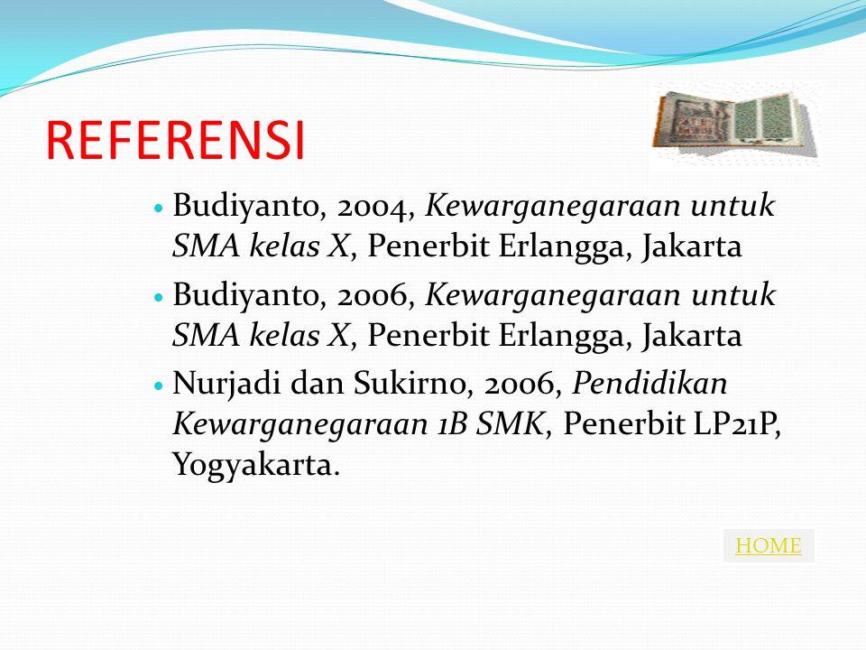 HOME REFERENSI Budiyanto, 2004, Kewarganegaraan untuk SMA kelas X, Penerbit Erlangga, Jakarta Budiyanto, 2006, Kewarganegaraan untuk SMA kelas X, Penerbit Erlangga, Jakarta Nurjadi dan Sukirno, 2006, Pendidikan Kewarganegaraan 1B SMK, Penerbit LP21P, Yogyakarta.
