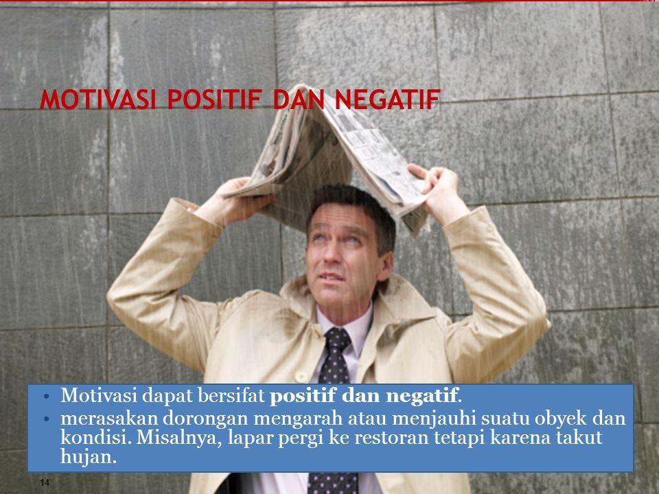 MOTIVASI POSITIF DAN NEGATIF Motivasi dapat bersifat positif dan negatif. merasakan dorongan mengarah atau menjauhi suatu obyek dan kondisi. Misalnya,