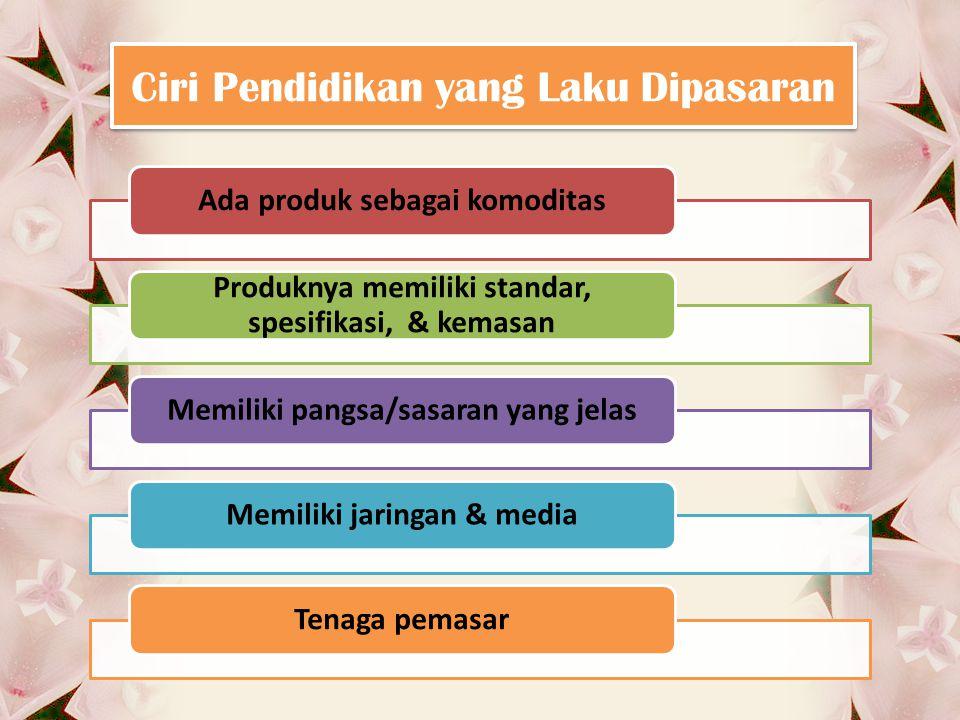 Ciri Pendidikan yang Laku Dipasaran Ada produk sebagai komoditas Produknya memiliki standar, spesifikasi, & kemasan Memiliki pangsa/sasaran yang jelasMemiliki jaringan & mediaTenaga pemasar