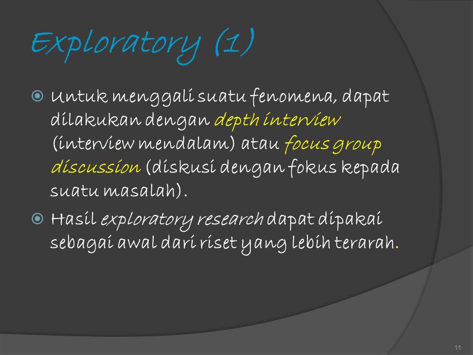 Exploratory (1)  Untuk menggali suatu fenomena, dapat dilakukan dengan depth interview (interview mendalam) atau focus group discussion (diskusi deng
