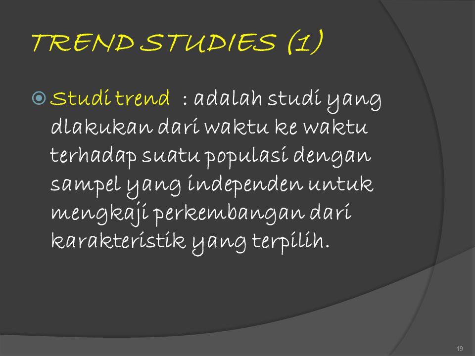 TREND STUDIES (1)  Studi trend : adalah studi yang dlakukan dari waktu ke waktu terhadap suatu populasi dengan sampel yang independen untuk mengkaji