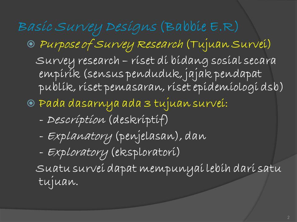 Basic Survey Designs (Babbie E.R)  Purpose of Survey Research (Tujuan Survei) Survey research – riset di bidang sosial secara empirik (sensus pendudu