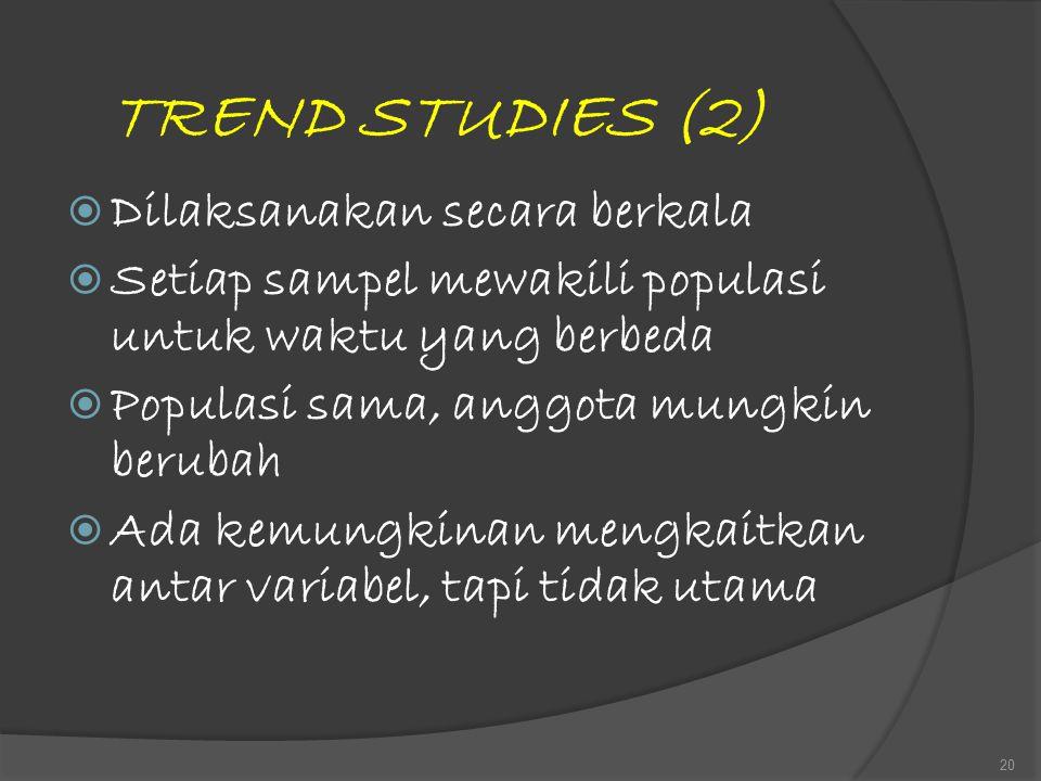 TREND STUDIES (2)  Dilaksanakan secara berkala  Setiap sampel mewakili populasi untuk waktu yang berbeda  Populasi sama, anggota mungkin berubah 
