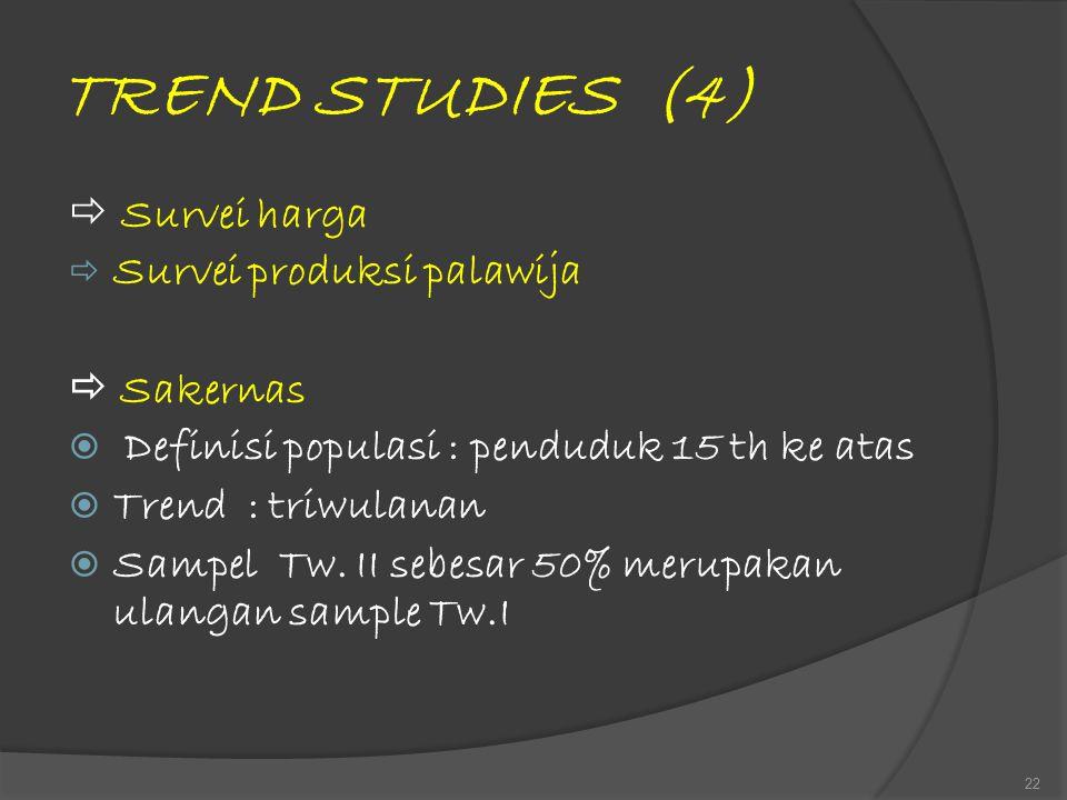 TREND STUDIES (4)  Survei harga  Survei produksi palawija  Sakernas  Definisi populasi : penduduk 15 th ke atas  Trend : triwulanan  Sampel Tw.