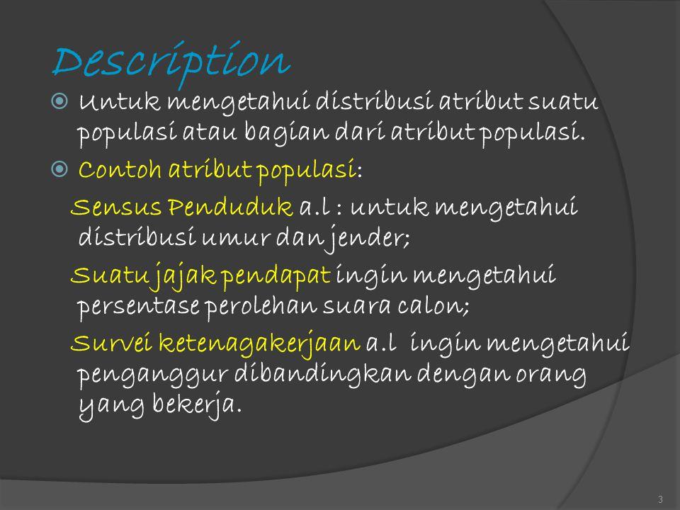 Description  Untuk mengetahui distribusi atribut suatu populasi atau bagian dari atribut populasi.  Contoh atribut populasi: Sensus Penduduk a.l : u