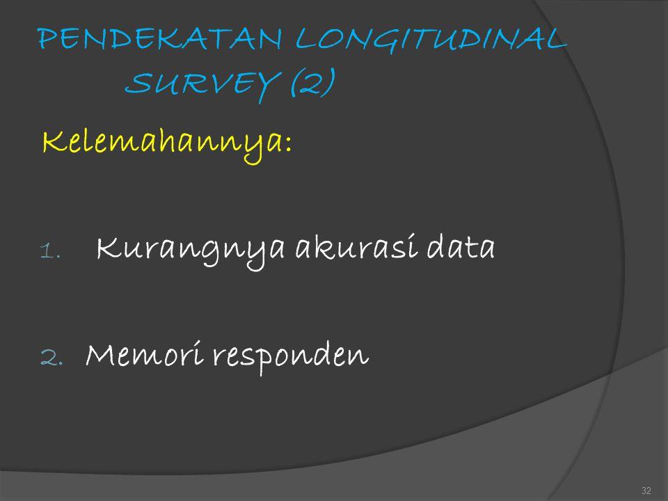 PENDEKATAN LONGITUDINAL SURVEY (2) Kelemahannya: 1. Kurangnya akurasi data 2. Memori responden 32