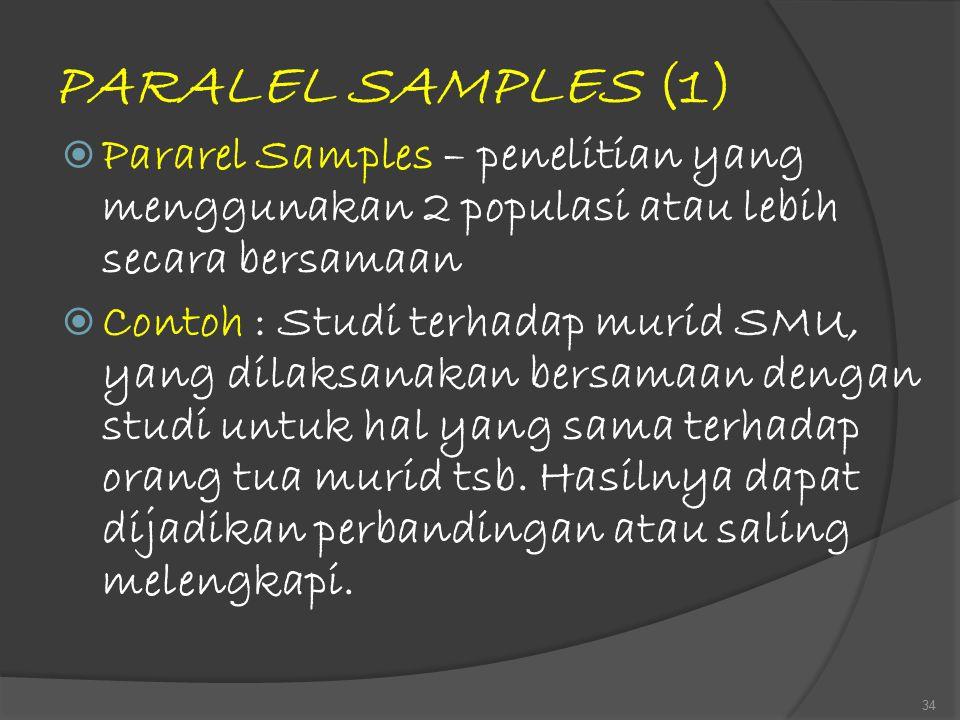PARALEL SAMPLES (1)  Pararel Samples – penelitian yang menggunakan 2 populasi atau lebih secara bersamaan  Contoh : Studi terhadap murid SMU, yang d