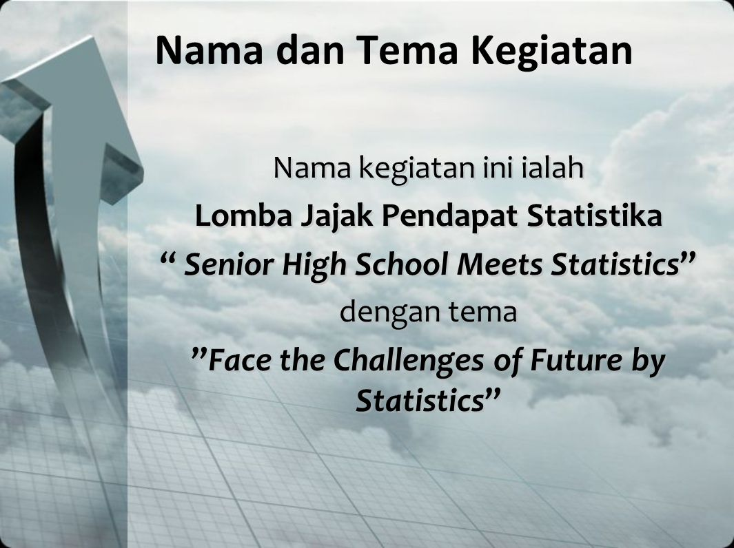 "Nama dan Tema Kegiatan Nama kegiatan ini ialah Lomba Jajak Pendapat Statistika "" Senior High School Meets Statistics"" dengan tema ""Face the Challenges"