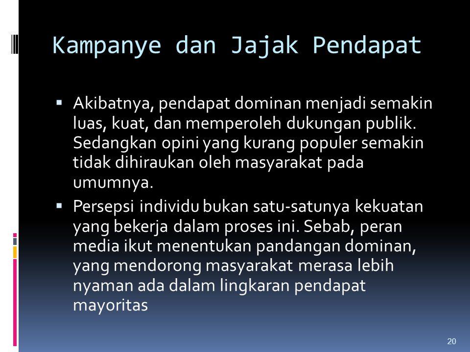 Kampanye dan Jajak Pendapat  Akibatnya, pendapat dominan menjadi semakin luas, kuat, dan memperoleh dukungan publik.