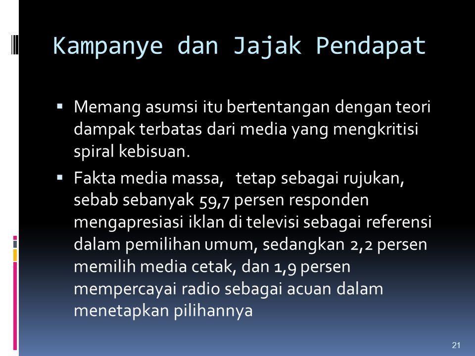 Kampanye dan Jajak Pendapat  Memang asumsi itu bertentangan dengan teori dampak terbatas dari media yang mengkritisi spiral kebisuan.  Fakta media m