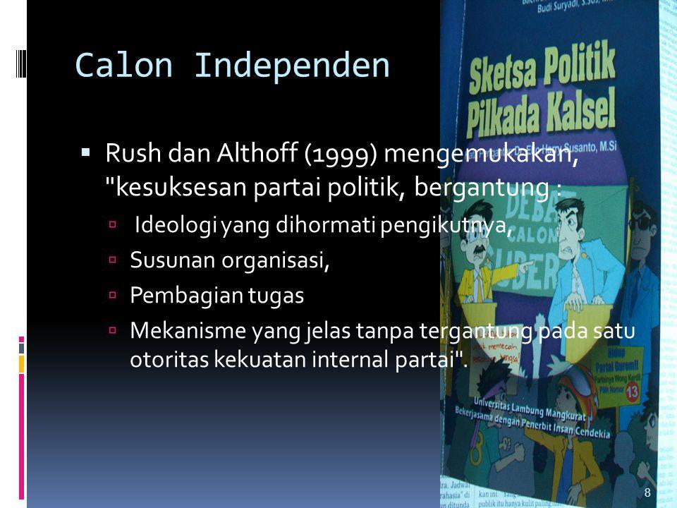 Calon Independen  Rush dan Althoff (1999) mengemukakan,