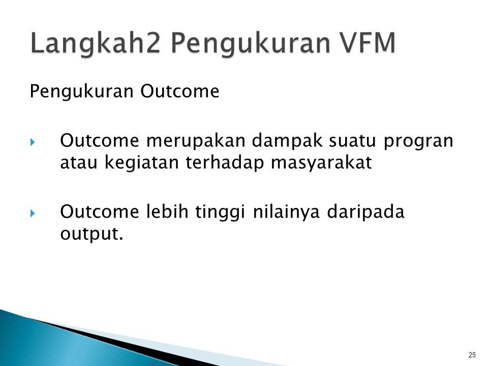 Pengukuran Outcome  Outcome merupakan dampak suatu progran atau kegiatan terhadap masyarakat  Outcome lebih tinggi nilainya daripada output. 25