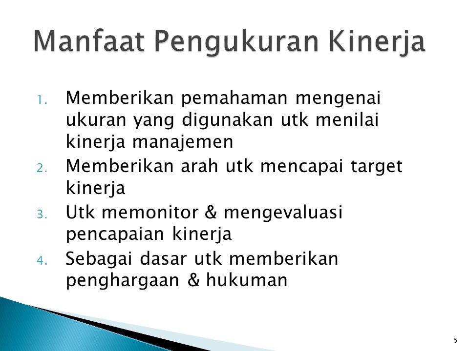 1. Memberikan pemahaman mengenai ukuran yang digunakan utk menilai kinerja manajemen 2. Memberikan arah utk mencapai target kinerja 3. Utk memonitor &