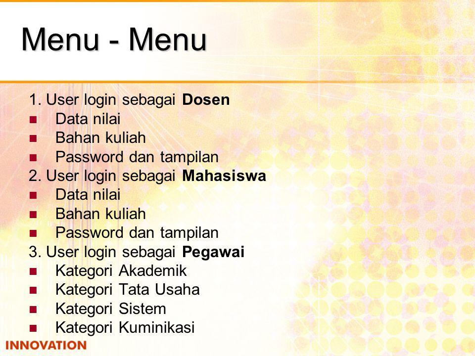 Menu - Menu 1. User login sebagai Dosen Data nilai Bahan kuliah Password dan tampilan 2. User login sebagai Mahasiswa Data nilai Bahan kuliah Password