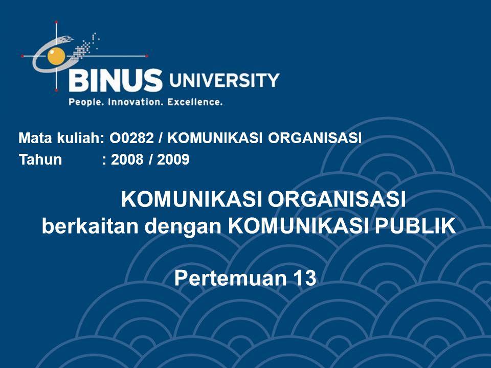 KOMUNIKASI ORGANISASI berkaitan dengan KOMUNIKASI PUBLIK Pertemuan 13 Mata kuliah: O0282 / KOMUNIKASI ORGANISASI Tahun : 2008 / 2009