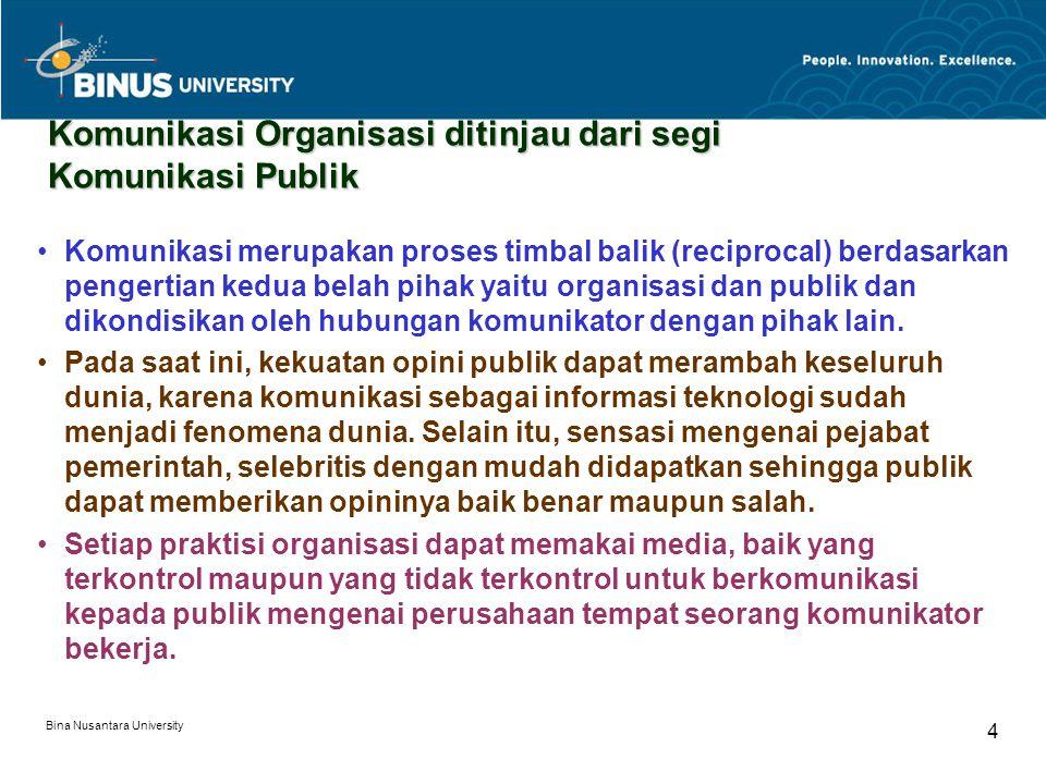 Bina Nusantara University 4 Komunikasi Organisasi ditinjau dari segi Komunikasi Publik Komunikasi merupakan proses timbal balik (reciprocal) berdasarkan pengertian kedua belah pihak yaitu organisasi dan publik dan dikondisikan oleh hubungan komunikator dengan pihak lain.