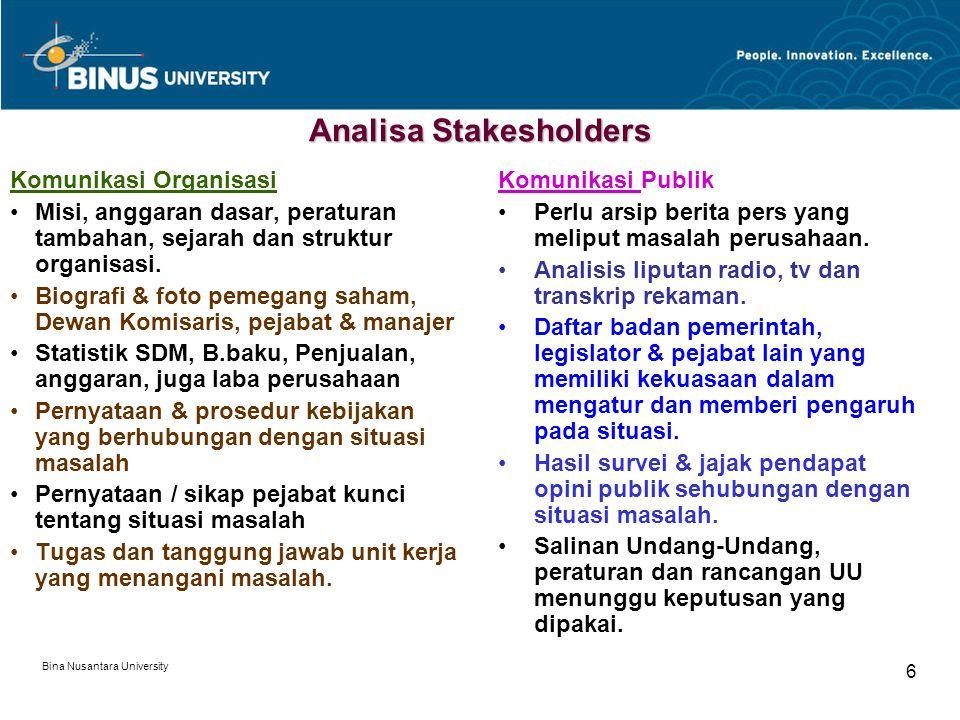 Bina Nusantara University 6 Analisa Stakesholders Komunikasi Organisasi Misi, anggaran dasar, peraturan tambahan, sejarah dan struktur organisasi. Bio