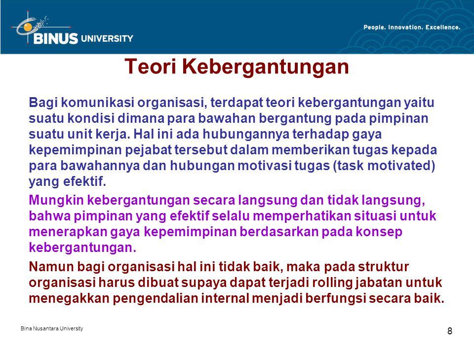 Bina Nusantara University 8 Teori Kebergantungan Bagi komunikasi organisasi, terdapat teori kebergantungan yaitu suatu kondisi dimana para bawahan bergantung pada pimpinan suatu unit kerja.