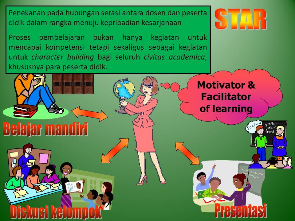 Motivator & Facilitator of learning Penekanan pada hubungan serasi antara dosen dan peserta didik dalam rangka menuju kepribadian kesarjanaan Proses p
