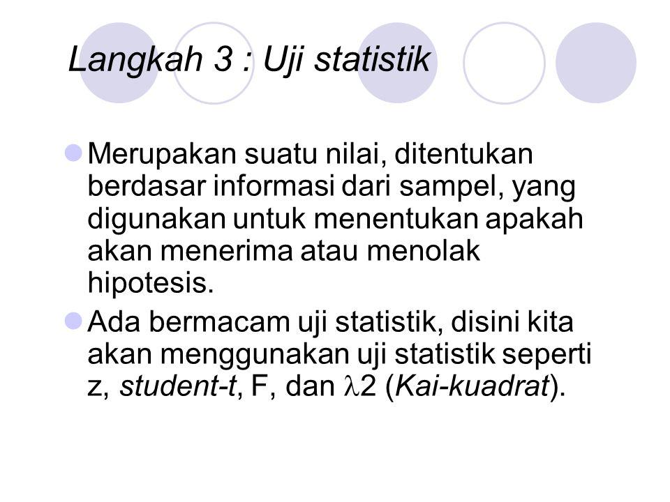 Langkah 3 : Uji statistik Merupakan suatu nilai, ditentukan berdasar informasi dari sampel, yang digunakan untuk menentukan apakah akan menerima atau