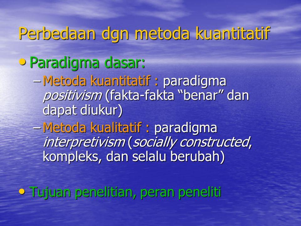 """Perbedaan dgn metoda kuantitatif Paradigma dasar: Paradigma dasar: –Metoda kuantitatif : paradigma positivism (fakta-fakta """"benar"""" dan dapat diukur) –"""