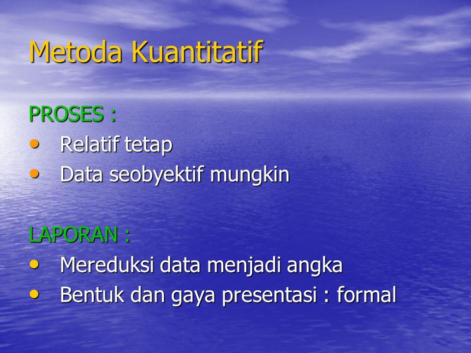 Metoda Kuantitatif PROSES : Relatif tetap Relatif tetap Data seobyektif mungkin Data seobyektif mungkin LAPORAN : Mereduksi data menjadi angka Mereduk