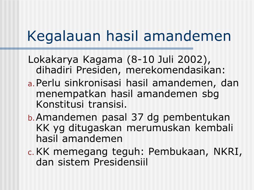 Kegalauan hasil amandemen Lokakarya Kagama (8-10 Juli 2002), dihadiri Presiden, merekomendasikan: a. Perlu sinkronisasi hasil amandemen, dan menempatk