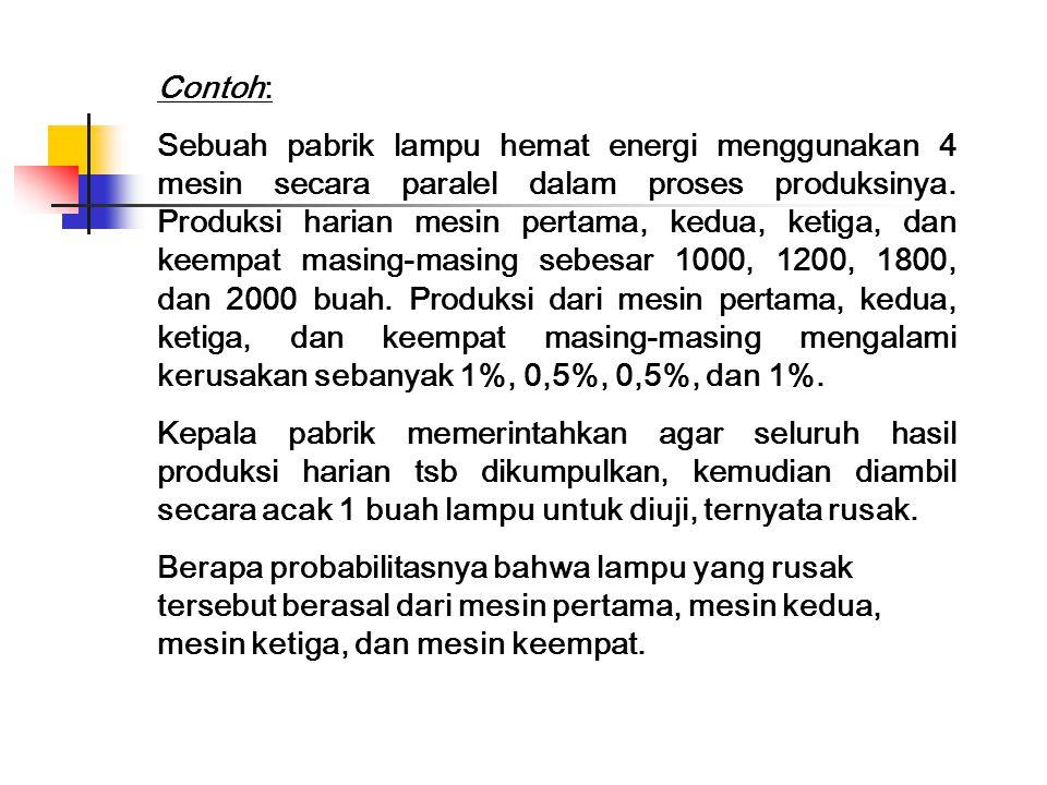 Contoh: Sebuah pabrik lampu hemat energi menggunakan 4 mesin secara paralel dalam proses produksinya.