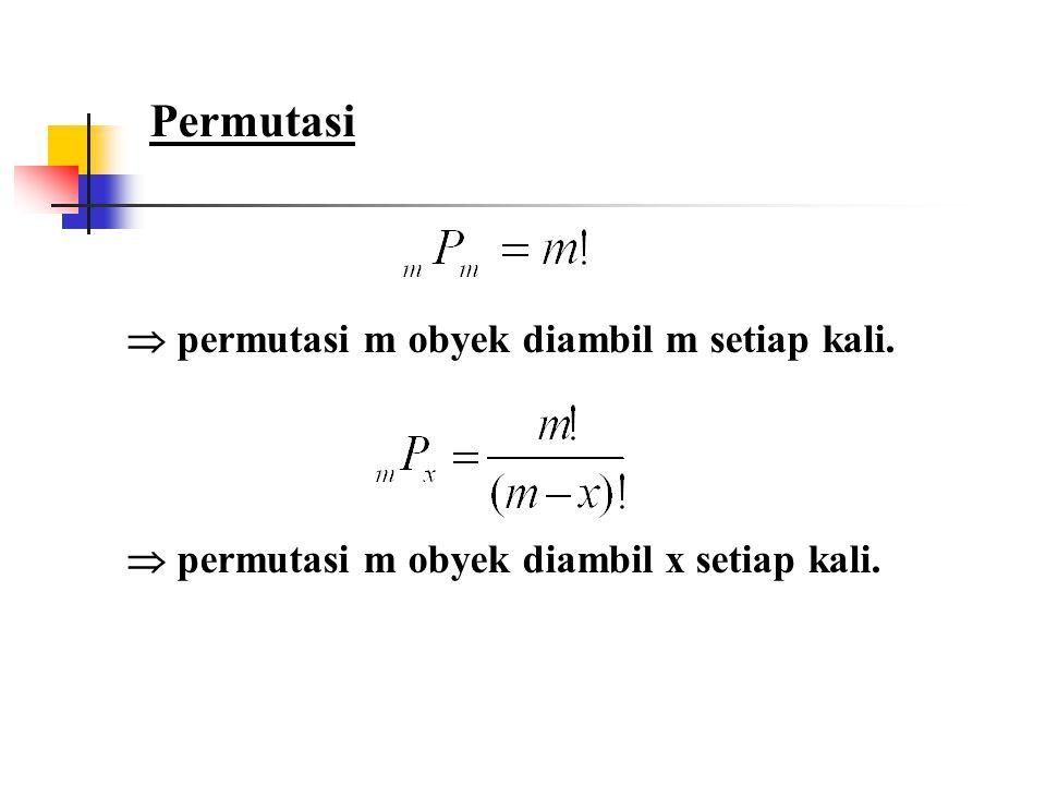 Permutasi  permutasi m obyek diambil m setiap kali.  permutasi m obyek diambil x setiap kali.
