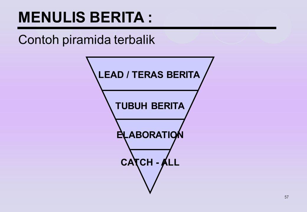 57 LEAD / TERAS BERITA TUBUH BERITA ELABORATION CATCH - ALL MENULIS BERITA : Contoh piramida terbalik