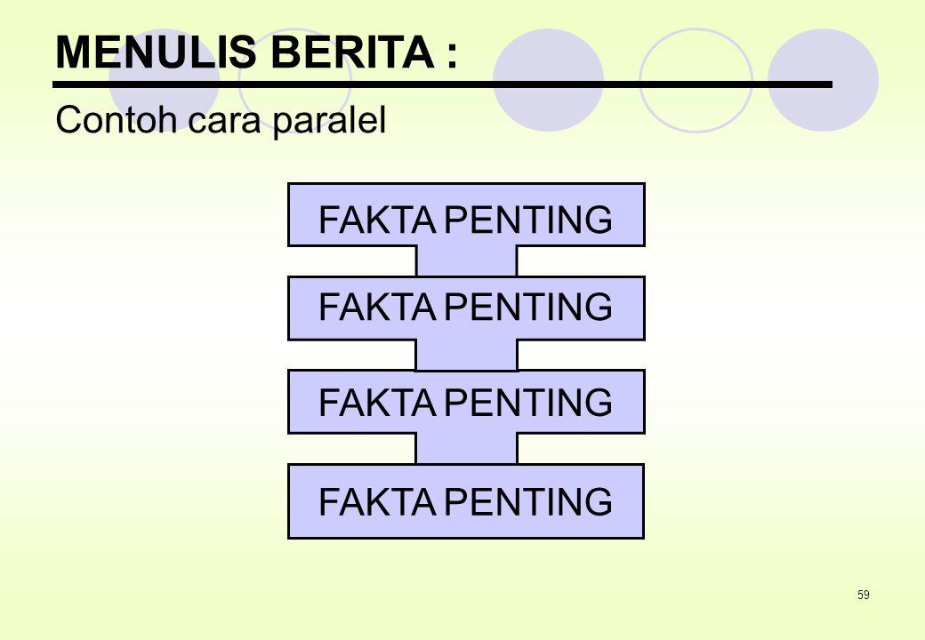 59 MENULIS BERITA : Contoh cara paralel FAKTA PENTING