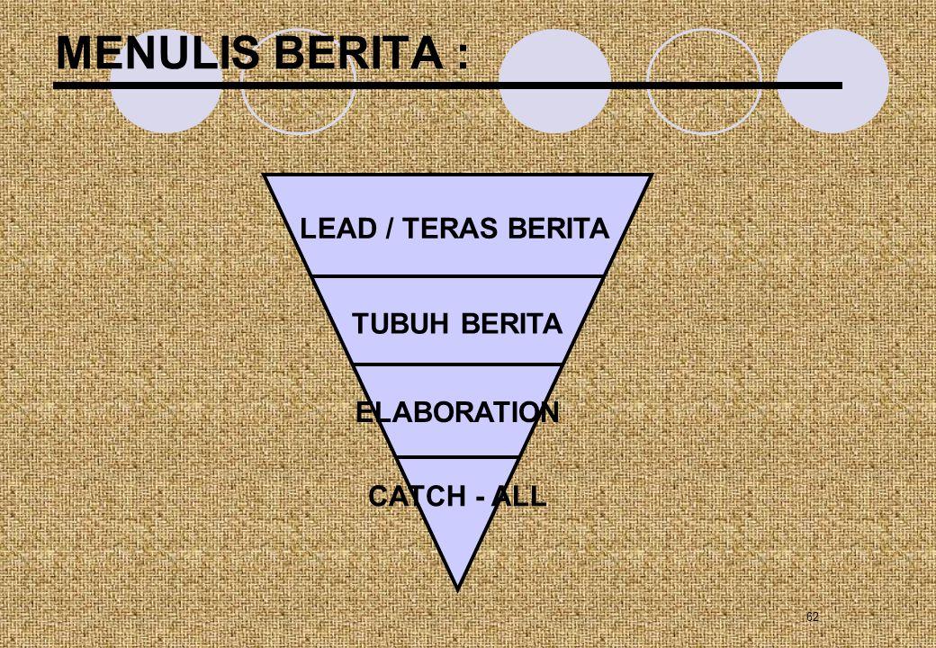 62 MENULIS BERITA : LEAD / TERAS BERITA TUBUH BERITA ELABORATION CATCH - ALL
