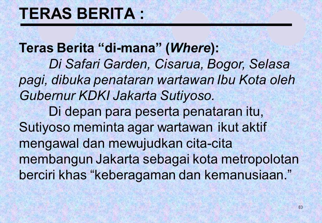 """83 TERAS BERITA : Teras Berita """"di-mana"""" (Where): Di Safari Garden, Cisarua, Bogor, Selasa pagi, dibuka penataran wartawan Ibu Kota oleh Gubernur KDKI"""