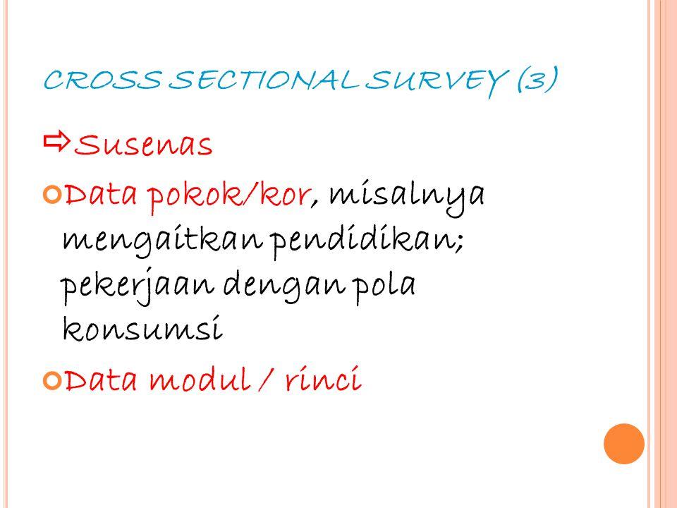 18 CROSS SECTIONAL SURVEY (3)  Susenas Data pokok/kor, misalnya mengaitkan pendidikan; pekerjaan dengan pola konsumsi Data modul / rinci