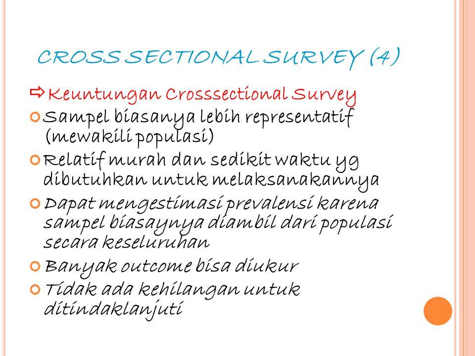 20 CROSS SECTIONAL SURVEY (4)  Keuntungan Crosssectional Survey Sampel biasanya lebih representatif (mewakili populasi) Relatif murah dan sedikit wak