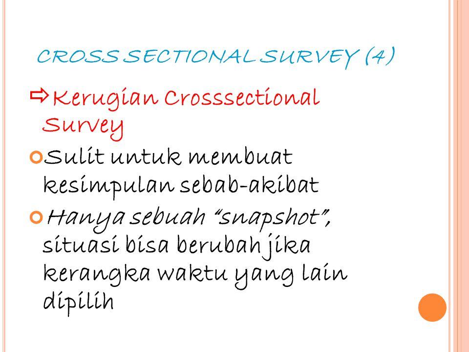 """21 CROSS SECTIONAL SURVEY (4)  Kerugian Crosssectional Survey Sulit untuk membuat kesimpulan sebab-akibat Hanya sebuah """"snapshot"""", situasi bisa berub"""
