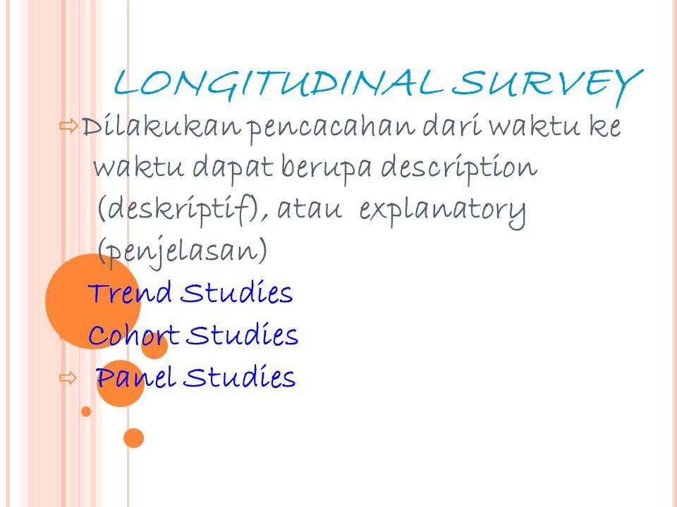 22 LONGITUDINAL SURVEY  Dilakukan pencacahan dari waktu ke waktu dapat berupa description (deskriptif), atau explanatory (penjelasan)  Trend Studies