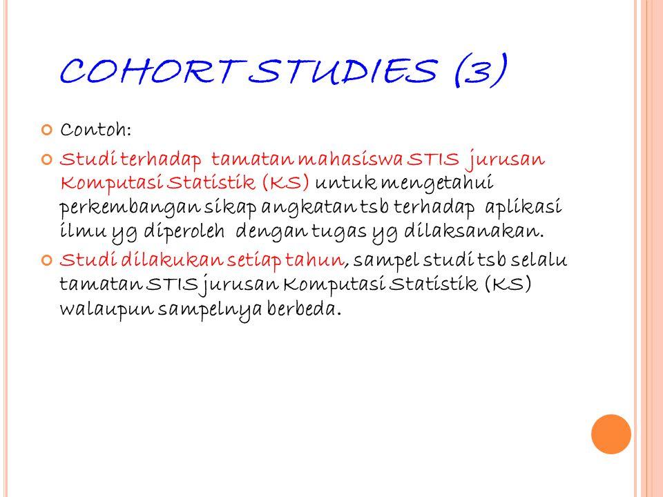 32 COHORT STUDIES (3) Contoh: Studi terhadap tamatan mahasiswa STIS jurusan Komputasi Statistik (KS) untuk mengetahui perkembangan sikap angkatan tsb