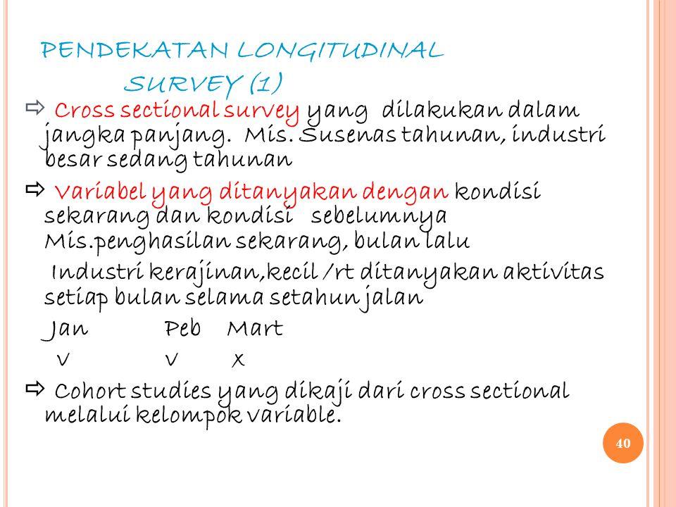 PENDEKATAN LONGITUDINAL SURVEY (1)  Cross sectional survey yang dilakukan dalam jangka panjang. Mis. Susenas tahunan, industri besar sedang tahunan 