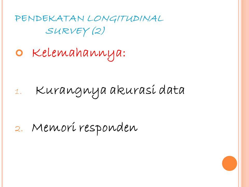 41 PENDEKATAN LONGITUDINAL SURVEY (2) Kelemahannya: 1. Kurangnya akurasi data 2. Memori responden